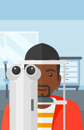 An african-american man during eye exam on the background of medical office vector flat design illustration. Vertical layout.