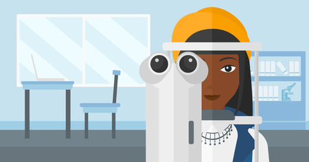 An african-american woman during eye examon the background of medical office vector flat design illustration. Horizontal layout. Çizim