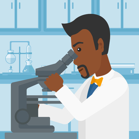 An african-american man looking through a microscope on the background of laboratory vector flat design illustration. Square layout. Illustration
