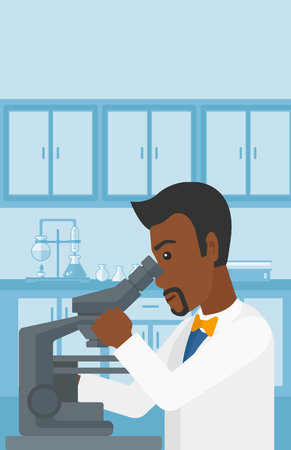 science and technology: An african-american man looking through a microscope on the background of laboratory vector flat design illustration. Vertical layout.