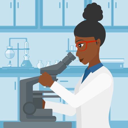 science and technology: An african-american woman looking through a microscope on the background of laboratory vector flat design illustration. Square layout. Illustration