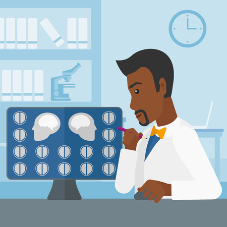 looking at computer screen: An african-american doctor looking at results of MRI scan on a computer screen on the background of medical office vector flat design illustration. Square layout. Illustration