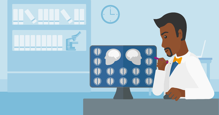 x ray equipment: An african-american doctor looking at results of MRI scan on a computer screen on the background of medical office vector flat design illustration. Horizontal layout.