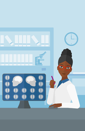 x ray equipment: An african-american doctor looking at results of MRI scan on a computer screen on the background of medical office vector flat design illustration. Vertical layout.