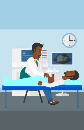 ultrasound: An african-american doctor with ultrasonic equipment during ultrasound medical examination of a man vector flat design illustration. Vertical layout.