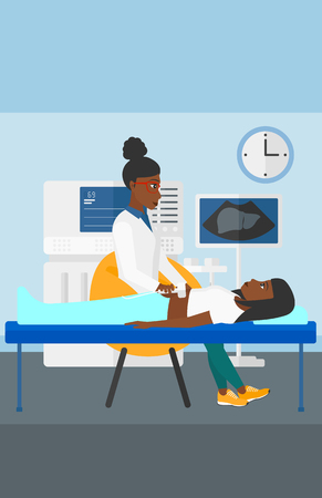 An african-american doctor with ultrasonic equipment during ultrasound medical examination of a woman vector flat design illustration. Vertical layout.