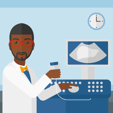 An african-american male ultrasound specialist with ultrasonic equipment on the background of medical office vector flat design illustration. Square layout.