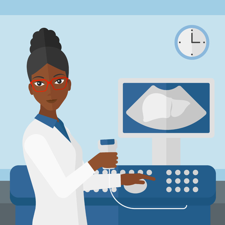ultrasonic: An african-american female ultrasound specialist with ultrasonic equipment on the background of medical office vector flat design illustration. Square layout. Illustration