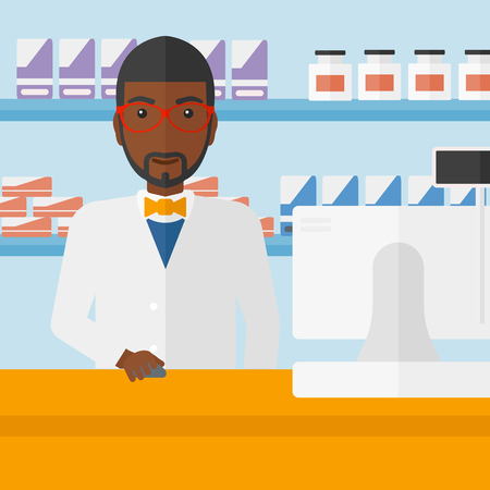 druggist: An african-american man at the counter in a pharmacy opposite the shelves with medicines vector flat design illustration. Square layout.