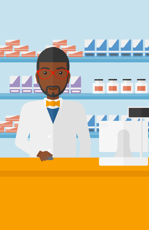 An african-american man at the counter in a pharmacy opposite the shelves with medicines vector flat design illustration. Vertical layout. 向量圖像
