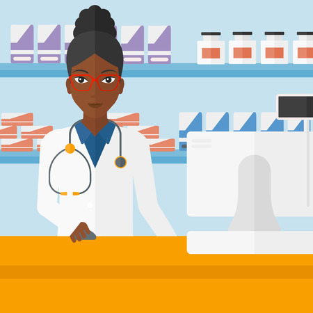 dispensary: An african-american woman at the counter in a pharmacy opposite the shelves with medicines vector flat design illustration. Square layout. Illustration