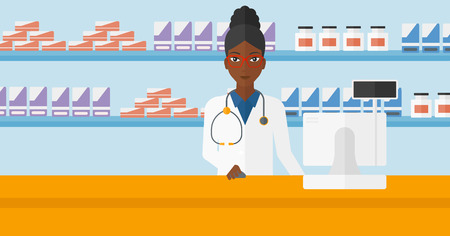 druggist: An african-american woman at the counter in a pharmacy opposite the shelves with medicines vector flat design illustration. Horizontal layout.