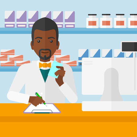 druggist: An african-american man holding a prescription in a hand and taking notes in a pharmacy opposite the shelves with medicines vector flat design illustration. Square layout. Illustration