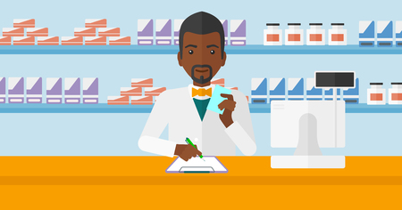 taking notes: An african-american man holding a prescription in a hand and taking notes in a pharmacy opposite the shelves with medicines vector flat design illustration. Horizontal layout. Illustration