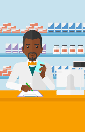 An african-american man holding a prescription in a hand and taking notes in a pharmacy opposite the shelves with medicines vector flat design illustration. Vertical layout. 向量圖像