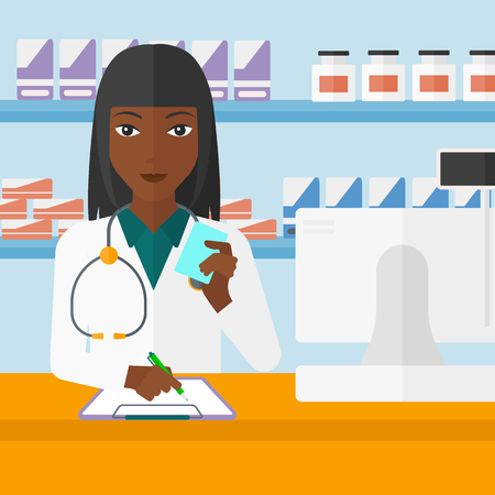 druggist: An african-american woman holding a prescription in a hand and taking notes in a pharmacy opposite the shelves with medicines vector flat design illustration. Square layout. Illustration