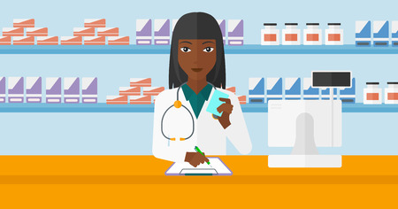 druggist: An african-american woman holding a prescription in a hand and taking notes in a pharmacy opposite the shelves with medicines vector flat design illustration. Hoizontal layout.