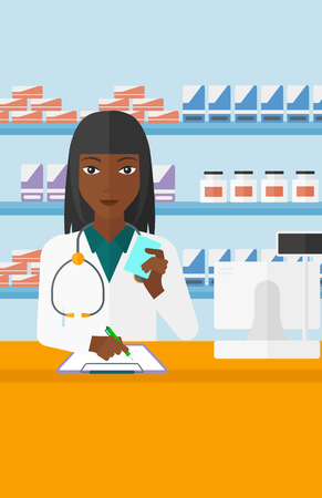holding notes: An african-american woman holding a prescription in a hand and taking notes in a pharmacy opposite the shelves with medicines vector flat design illustration. Vertical layout. Illustration