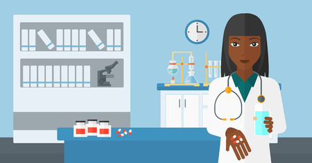 An african-american woman holding in hands a glass of water and some pills on the background of laboratory vector flat design illustration. Horizontal layout. 向量圖像