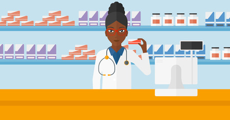 africanamerican: An african-american woman showing some medicine on a pharmacy background vector flat design illustration. Horizontal layout.