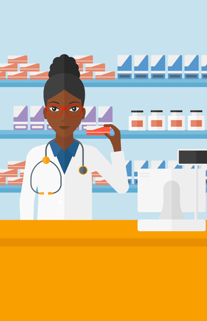 An african-american woman showing some medicine on a pharmacy background vector flat design illustration. Vertical layout. 向量圖像