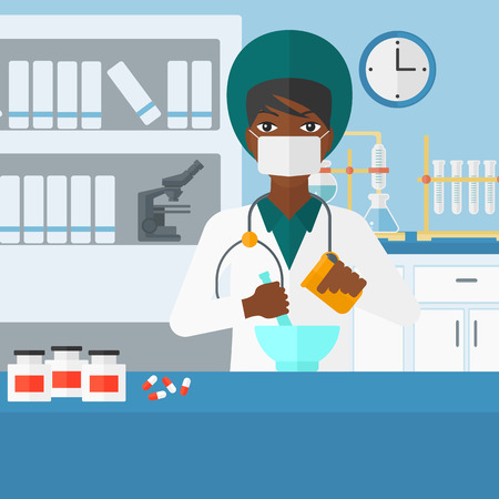 druggist: An african-american woman preparing medicine on the background of laboratory vector flat design illustration. Square layout.