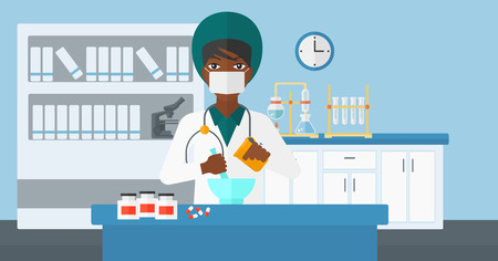 medical preparation: An african-american woman preparing medicine on the background of laboratory vector flat design illustration. Horizontal layout.