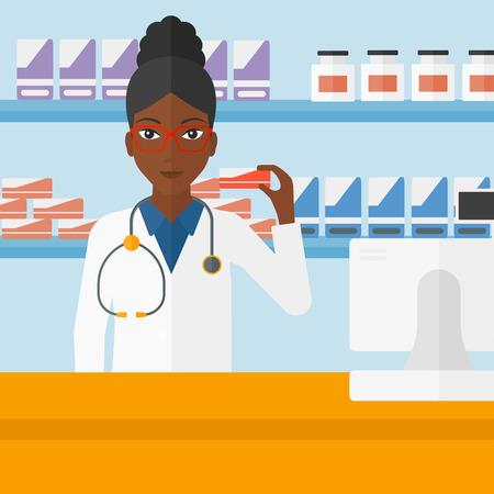 druggist: An african-american woman showing some medicine on a pharmacy background vector flat design illustration. Square layout. Illustration