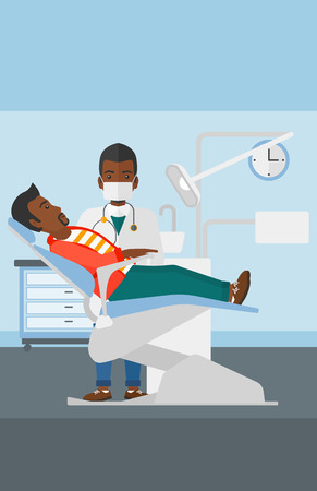 exam room: An african-american dentist and man in dentist chair in exam room vector flat design illustration. Vertical layout.