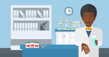 druggist: An african-american man holding in hands a glass of water and some pills on the background of laboratory vector flat design illustration. Horizontal layout.