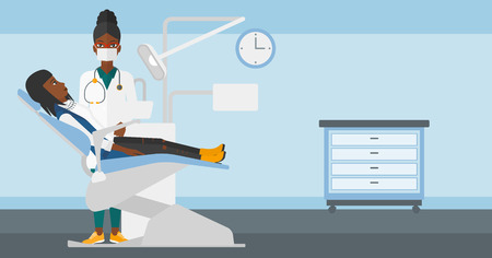 exam room: An african-american dentist and woman in dentist chair in exam room vector flat design illustration. Horizontal layout. Illustration