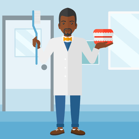 polyclinic: An african-american man with a dental jaw model and a toothbrush on a polyclinic background vector flat design illustration. Square layout. Illustration