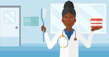 歯科用顎模型と総合病院の背景ベクトル フラット デザイン イラストを歯ブラシのアフリカ系アメリカ人女性。水平方向のレイアウト。