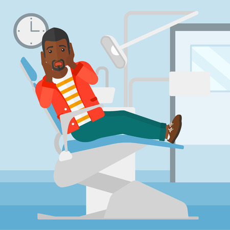 frightful: A frightened african-american man sitting in chair in dental office vector flat design illustration. Square layout.