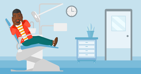 frightful: A frightened african-american man sitting in chair in dental office vector flat design illustration. Horizontal layout. Illustration
