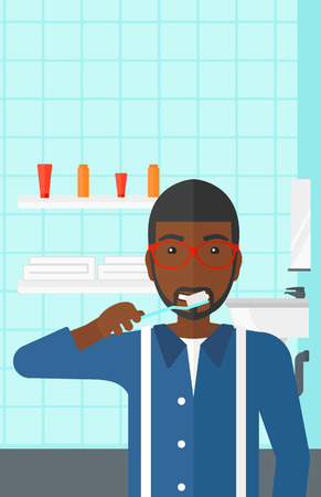 An african-american man brushing his teeth with a toothbrush in bathroom vector flat design illustration. Vertical layout. Stock fotó - 52938332