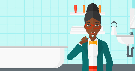 An african-american woman brushing her teeth with a toothbrush in bathroom vector flat design illustration. Horizontal layout. Stock fotó - 52938335