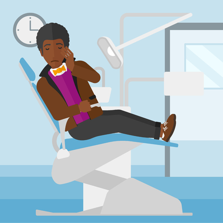 tooth pain: An african-american man sitting in chair in dental office and suffering from tooth pain vector flat design illustration. Square layout.