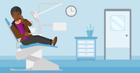 tooth pain: An african-american man sitting in chair in dental office and suffering from tooth pain vector flat design illustration. Horizontal layout.