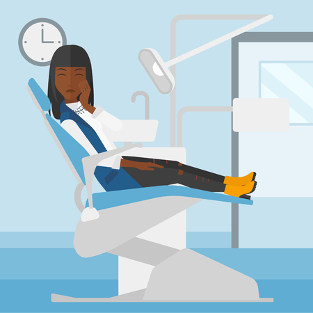 An african-american woman sitting in chair in dental office and suffering from tooth pain vector flat design illustration. Square layout. Illusztráció