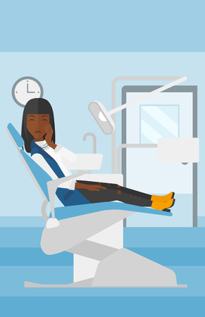 tooth pain: An african-american woman sitting in chair in dental office and suffering from tooth pain vector flat design illustration. Vertical layout.