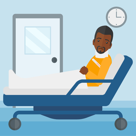 An african-american man with injured neck lying in bed in hospital ward vector flat design illustration. Square layout.