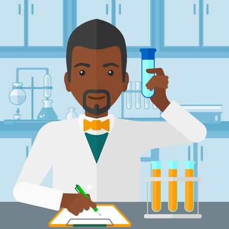 medicine and science: An african-american man taking some notes and holding a test tube on the background of laboratory vector flat design illustration. Square layout.