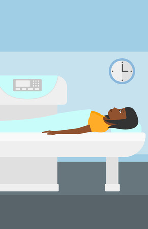 An african-american woman undergoes an open magnetic resonance imaging scan procedure in hospital vector flat design illustration. Vertical layout.