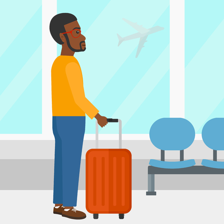 airport cartoon: An african-american man at airport with a suitcase on the background of airplane in sky outside the window vector flat design illustration. Square layout. Illustration