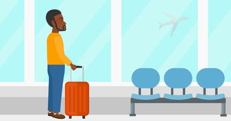 airport cartoon: An african-american man at airport with a suitcase on the background of airplane in sky outside the window vector flat design illustration. Horizontal layout. Illustration