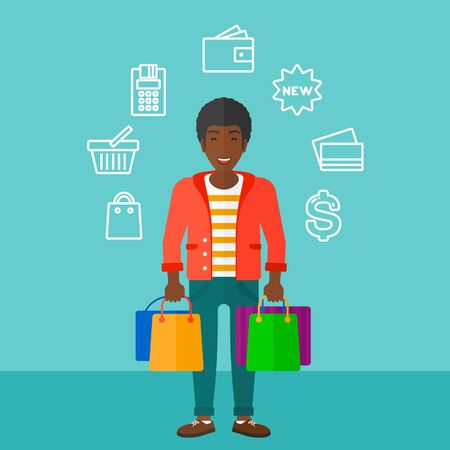 An african-american man with bags and some shopping icons around him on a blue background vector flat design illustration. Square layout. Illusztráció