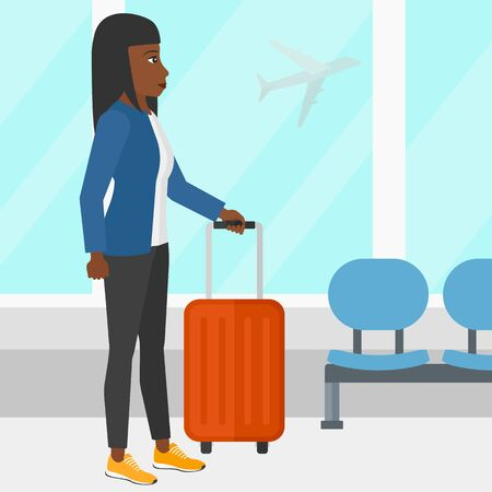 airport cartoon: An african-american woman at airport with a suitcase on the background of airplane in sky outside the window vector flat design illustration. Square layout. Illustration