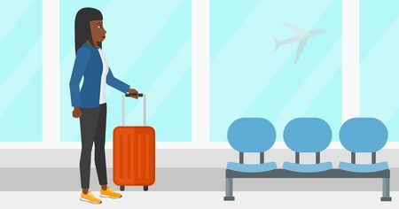 An african-american woman at airport with a suitcase on the background of airplane in sky outside the window vector flat design illustration. Horizontal layout. Vettoriali