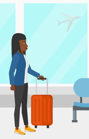 airport cartoon: An african-american woman at airport with a suitcase on the background of airplane in sky outside the window vector flat design illustration. Vertical layout.